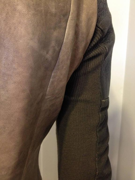 Rick Owens Taupe and Brown Leather Jacket 8