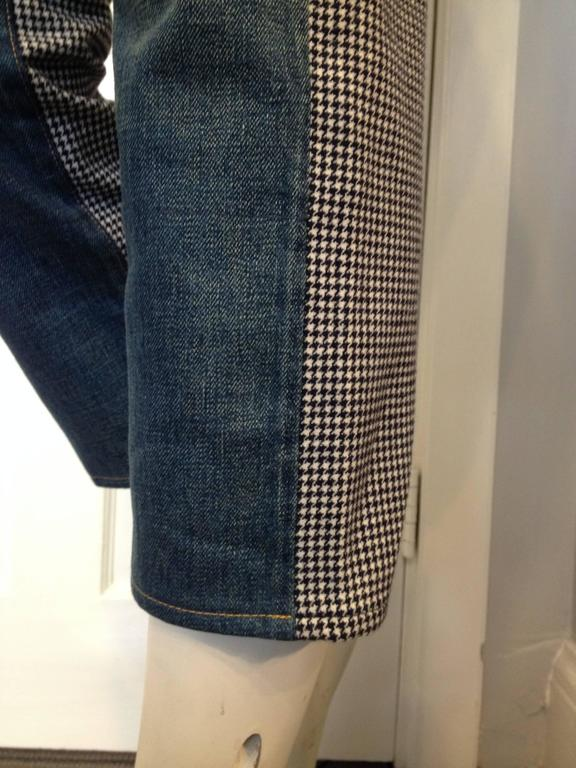 Junya Watanabe Blue Denim and Houndstooth Patchwork Jeans For Sale 2
