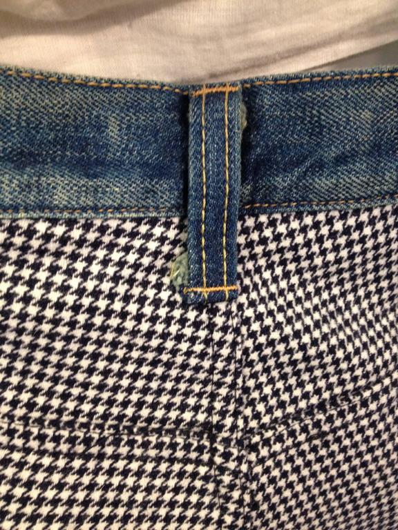 Junya Watanabe Blue Denim and Houndstooth Patchwork Jeans For Sale 3