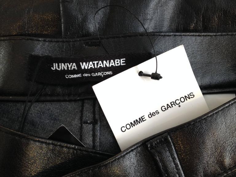 Junya Watanabe Black Resin-Coated Jeans For Sale 6