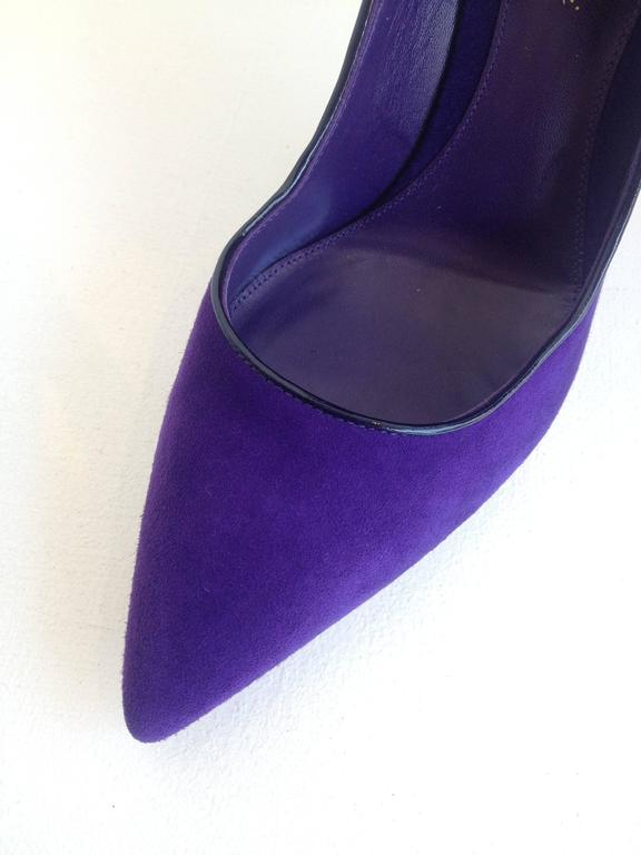Gianvito Rossi Purple Suede Cuff Heels Size 37.5 (7) 5