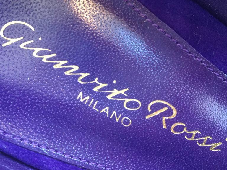 Gianvito Rossi Purple Suede Cuff Heels Size 37.5 (7) 8