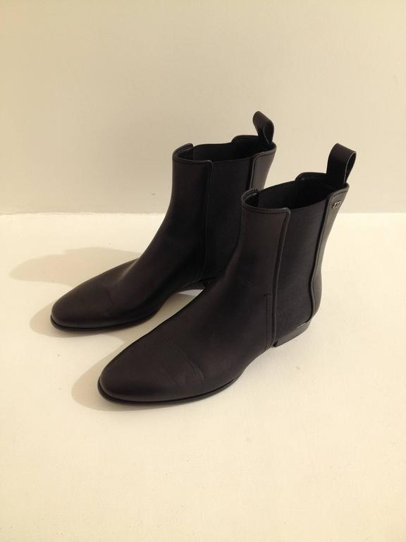 Christian Dior Black Leather Ankle Boot Size 37 (6.5) In New Condition For Sale In San Francisco, CA