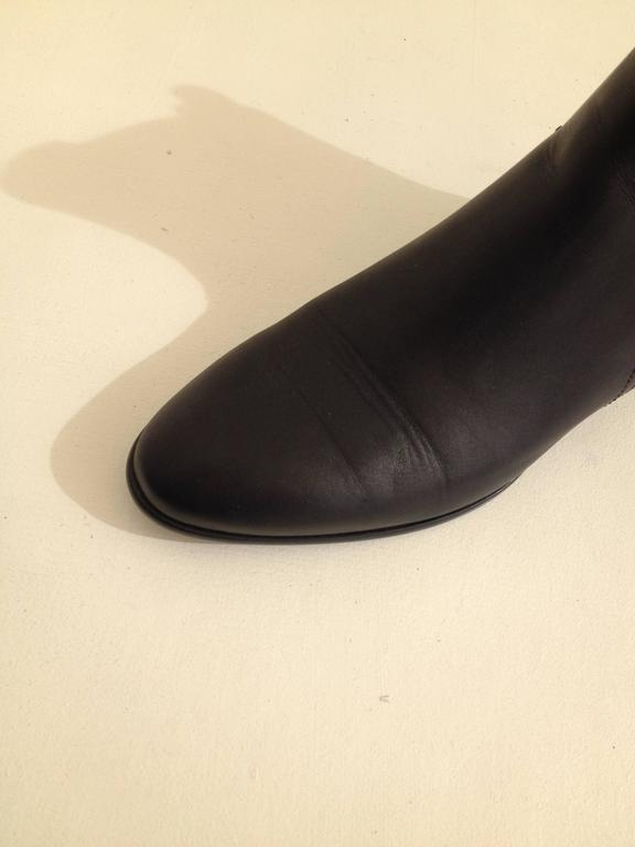 Christian Dior Black Leather Ankle Boot Size 37 (6.5) For Sale 1