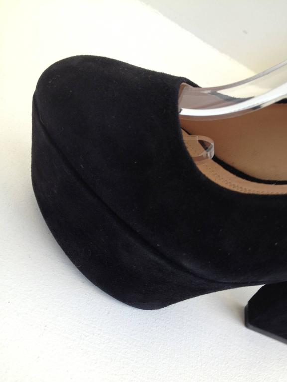 Celine Black Suede Platform Heels with Ankle Strap Size 37 (6.5) For Sale 1