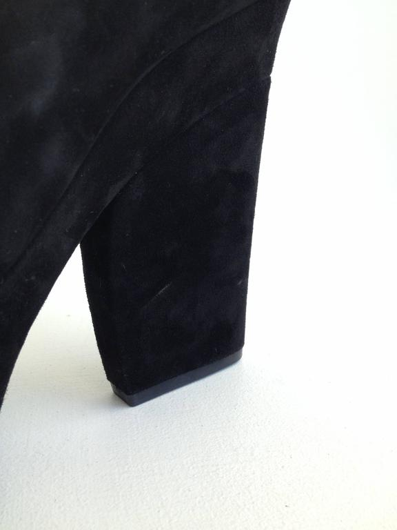 Celine Black Suede Platform Heels with Ankle Strap Size 37 (6.5) For Sale 2
