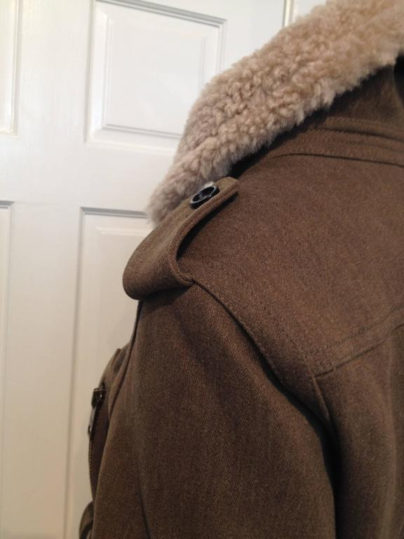 Burberry Prorsum Olive Wool Shearling Bomber Jacket Size 38 (2) For Sale 1