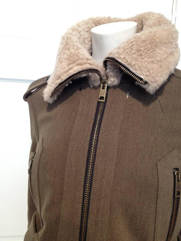 Women's Burberry Prorsum Olive Wool Shearling Bomber Jacket Size 38 (2) For Sale