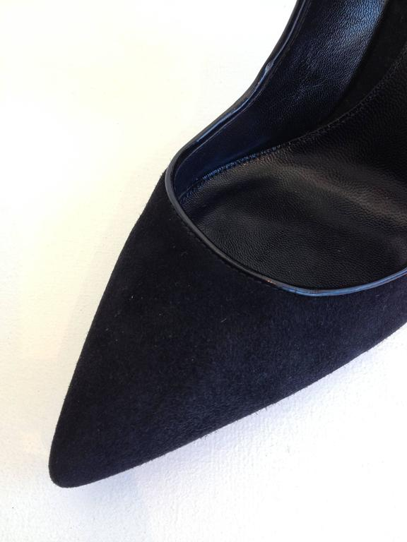Gianvito Rossi Black Suede Cuff Heels Size 37.5 For Sale 1