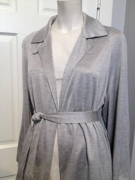 Hermes Grey Silk Knit Wrap Coat Size 40 (8) 4