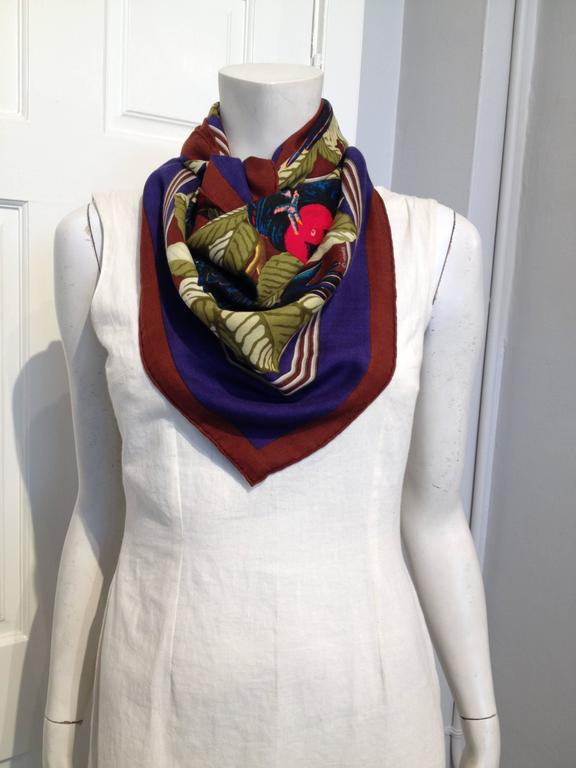 Hermes Cashmere and Silk Les Perroquets Scarf 90cm 2