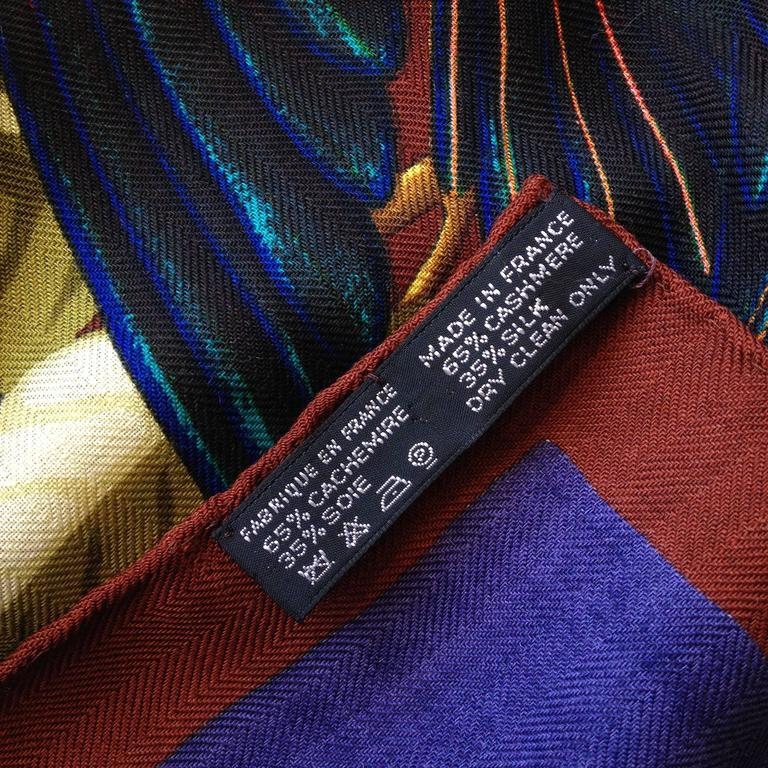 Hermes Cashmere and Silk Les Perroquets Scarf 90cm For Sale 4