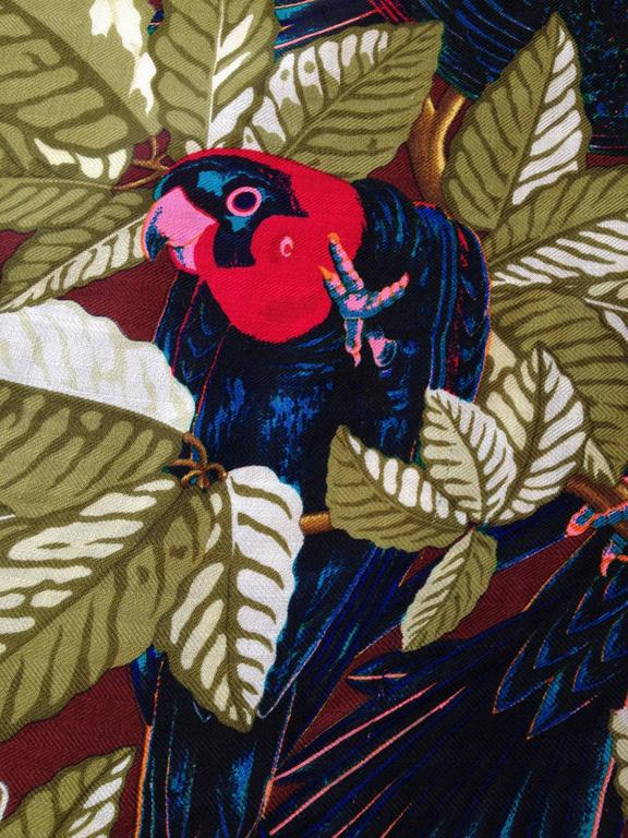 Black Hermes Cashmere and Silk Les Perroquets Scarf 90cm For Sale