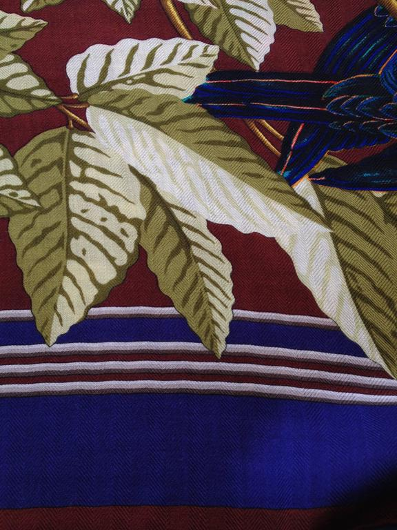 Hermes Cashmere and Silk Les Perroquets Scarf 90cm In Good Condition For Sale In San Francisco, CA