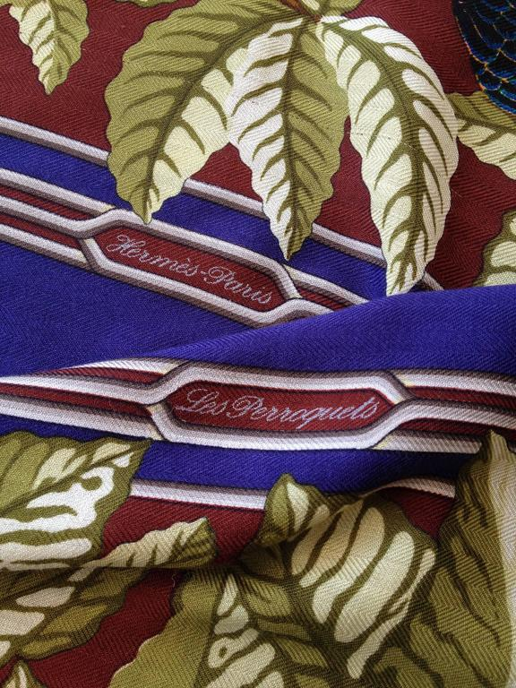 Hermes Cashmere and Silk Les Perroquets Scarf 90cm For Sale 3