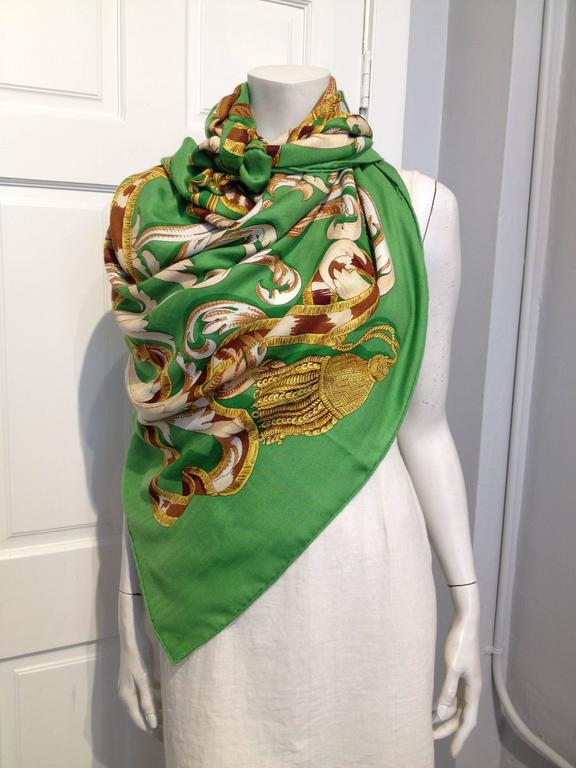 "Hermes Silk and Cashmere Le Mors ""a La Conetable"" Shawl 140cm 2"