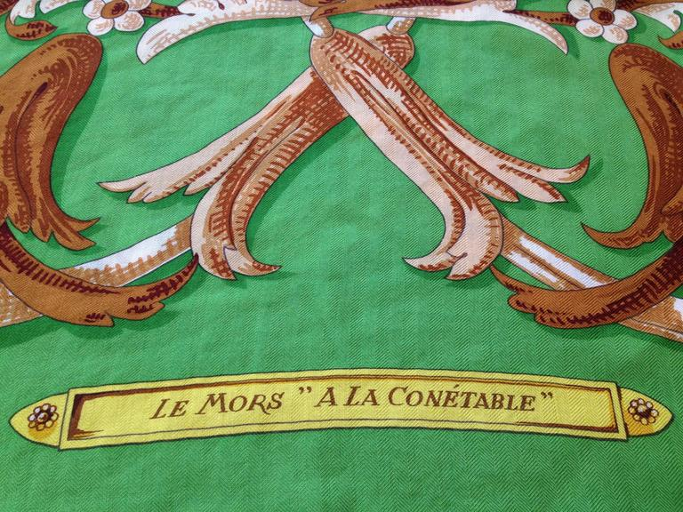 "Hermes Silk and Cashmere Le Mors ""a La Conetable"" Shawl 140cm 8"