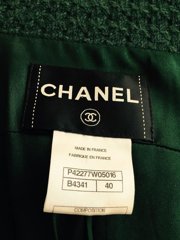 Chanel Forest Green Double-breasted Jacket With White Accents Sz  For Sale 5