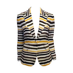 Dolce & Gabbana Yellow Striped Linen Blazerl