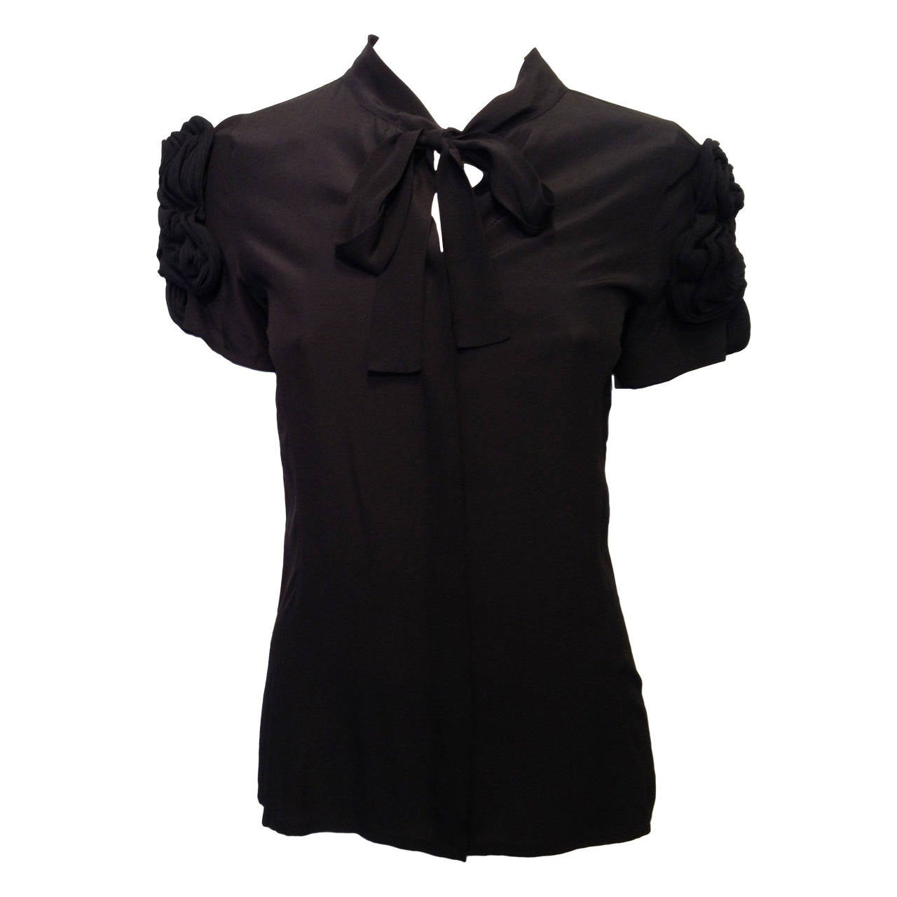 Fendi Black Silk Blouse with Braided Shoulders 1