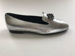 Chanel Silver Loafers Sz 37 1/2