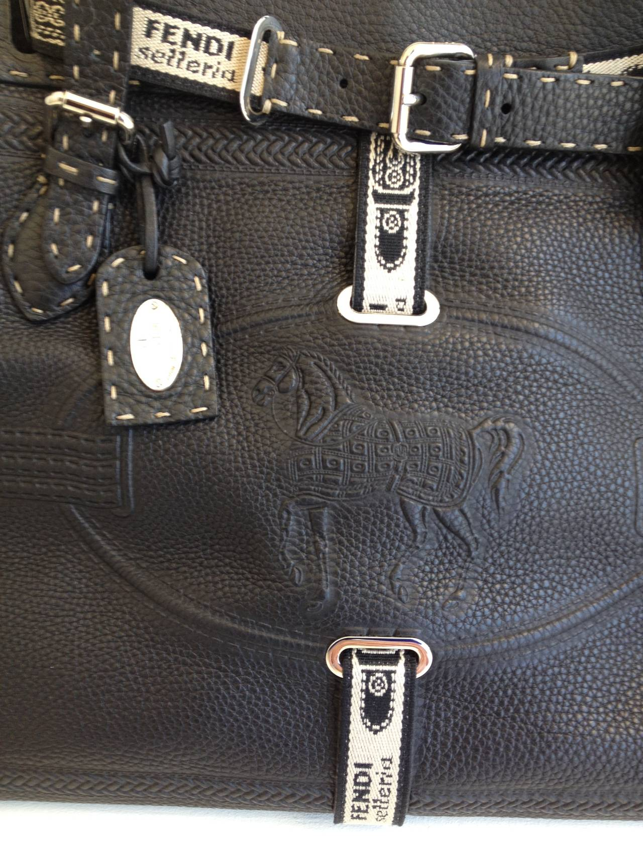 Fendi Black Grand Borghese Selleria Handbag At 1stdibs