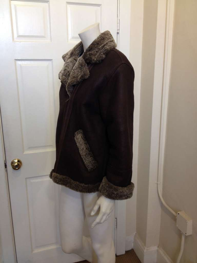 Black Revillon Dark Brown Leather Coat with Fur Lining For Sale
