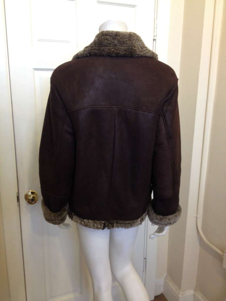 Women's Revillon Dark Brown Leather Coat with Fur Lining For Sale