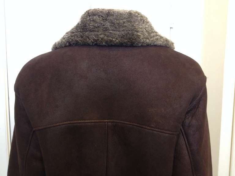 Revillon Dark Brown Leather Coat with Fur Lining 6