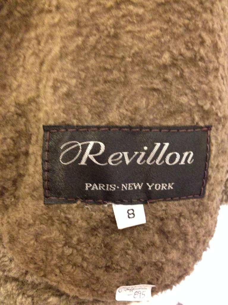Revillon Dark Brown Leather Coat with Fur Lining For Sale 3