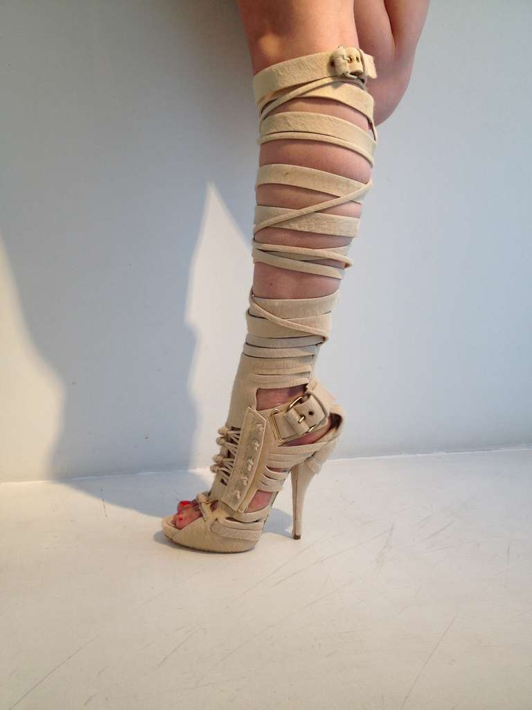 Cream Gladiator Heels - Is Heel