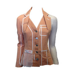 Christian Dior Peach Denim Jacket with White Mesh Insets