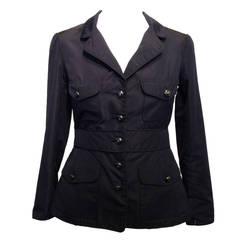 Chanel Navy Silk Twill Jacket with Black Piping