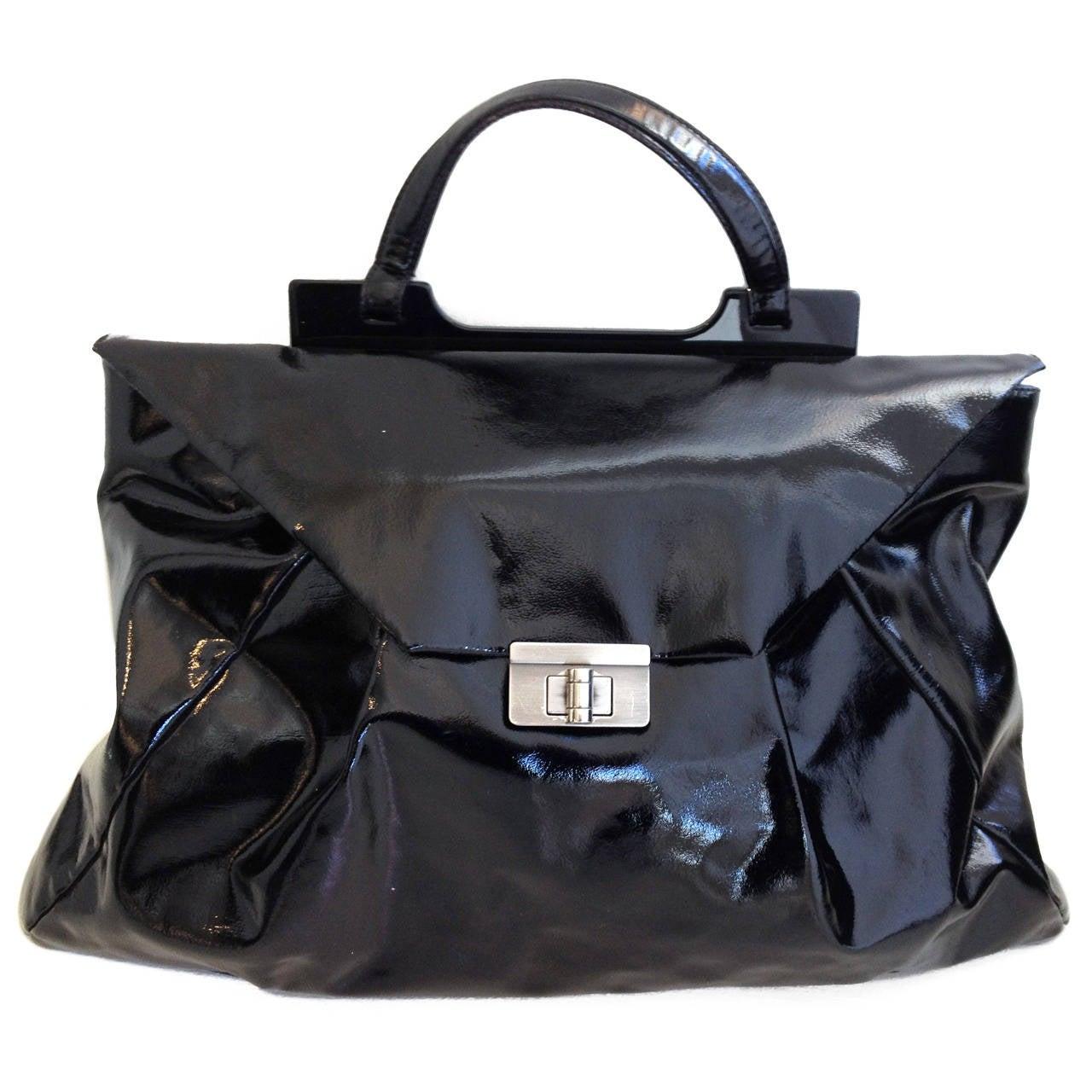 445a550550 Marni Black Patent Leather Envelope Bag at 1stdibs