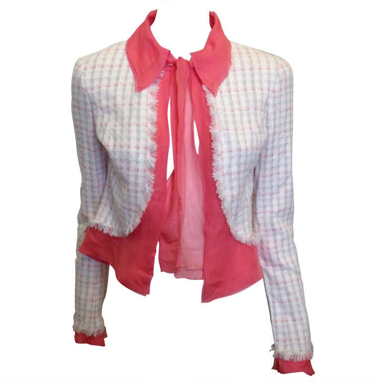 Chanel White Tweed Jacket with Pink Silk Trim at 1stdibs