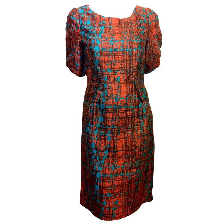 Oscar de la Renta Orange and Turquoise Dress 1