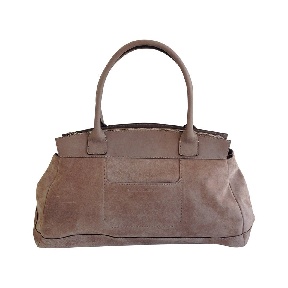 063f2411a73a Brunello Cucinelli Taupe Suede Handbag at 1stdibs