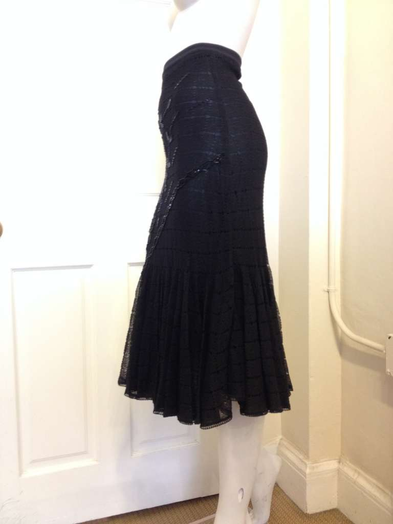 John Galliano Black Knit Mermaid Skirt In Excellent Condition For Sale In San Francisco, CA