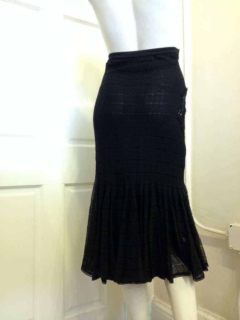 John Galliano Black Knit Mermaid Skirt 2