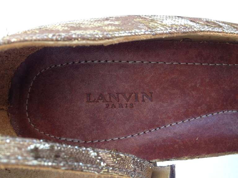 Lanvin Gold Fabric Pump 5