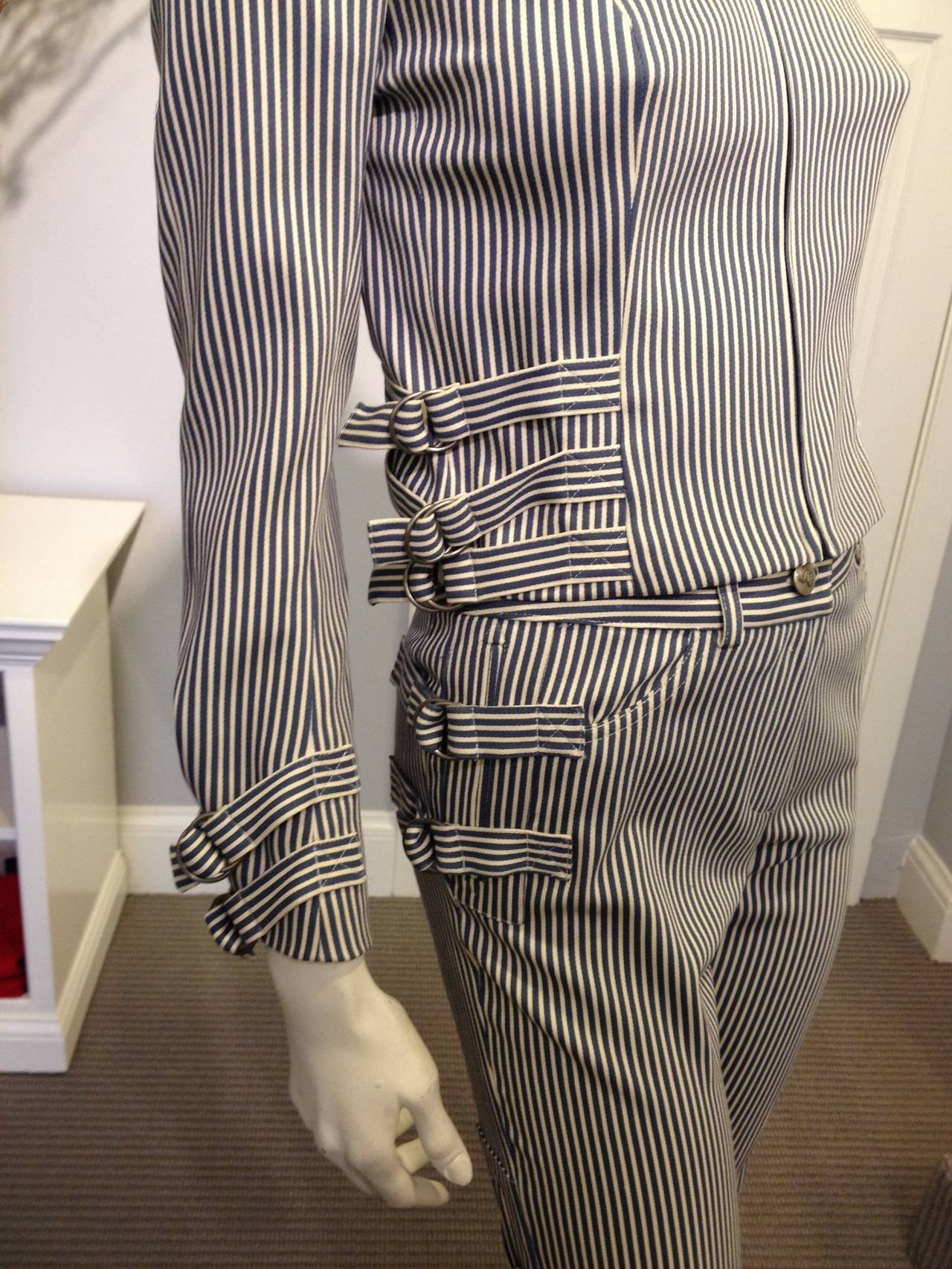 Women's John Galliano Blue and White Striped Pant Suit For Sale
