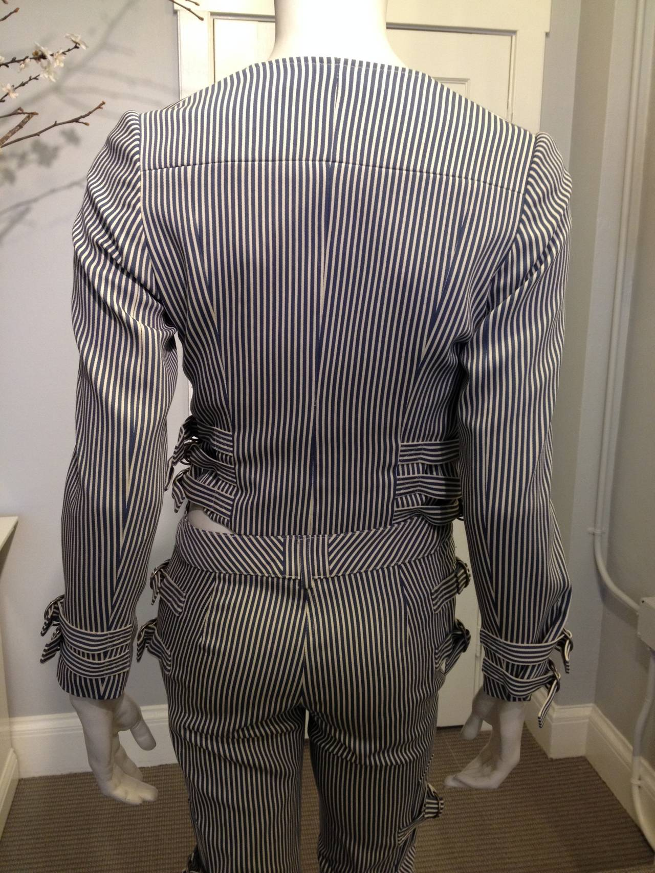 John Galliano Blue and White Striped Pant Suit 2
