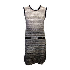 Chanel Grey and Navy Ombre Knit Dress