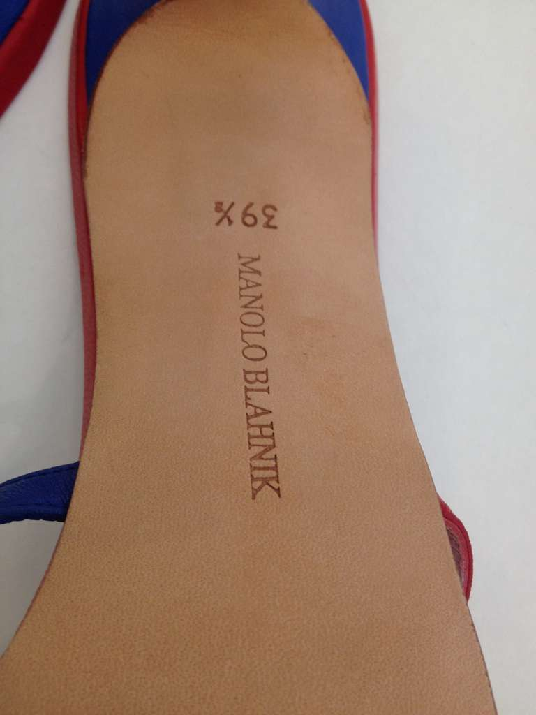 manolo blahnik red and blue star sandals at 1stdibs