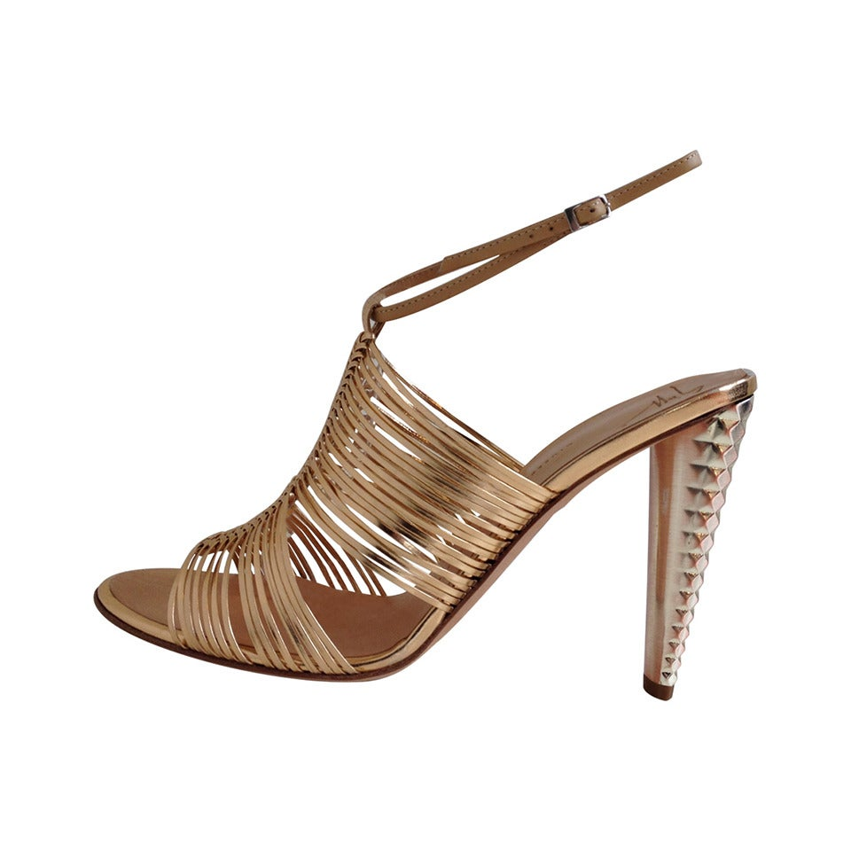 Giuseppe Zanotti Rose Gold Sandals with Studded Heel For Sale