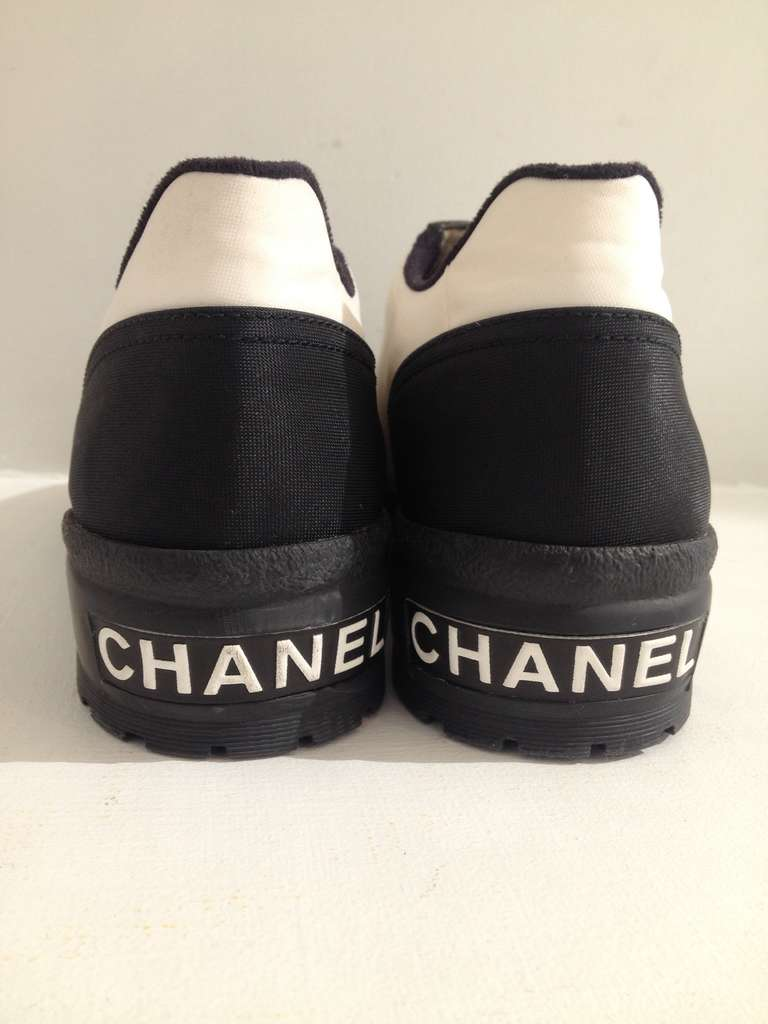 Chanel Black And White Sneakers At 1stdibs