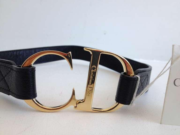 Christian Dior Black Leather Cd Belt At 1stdibs