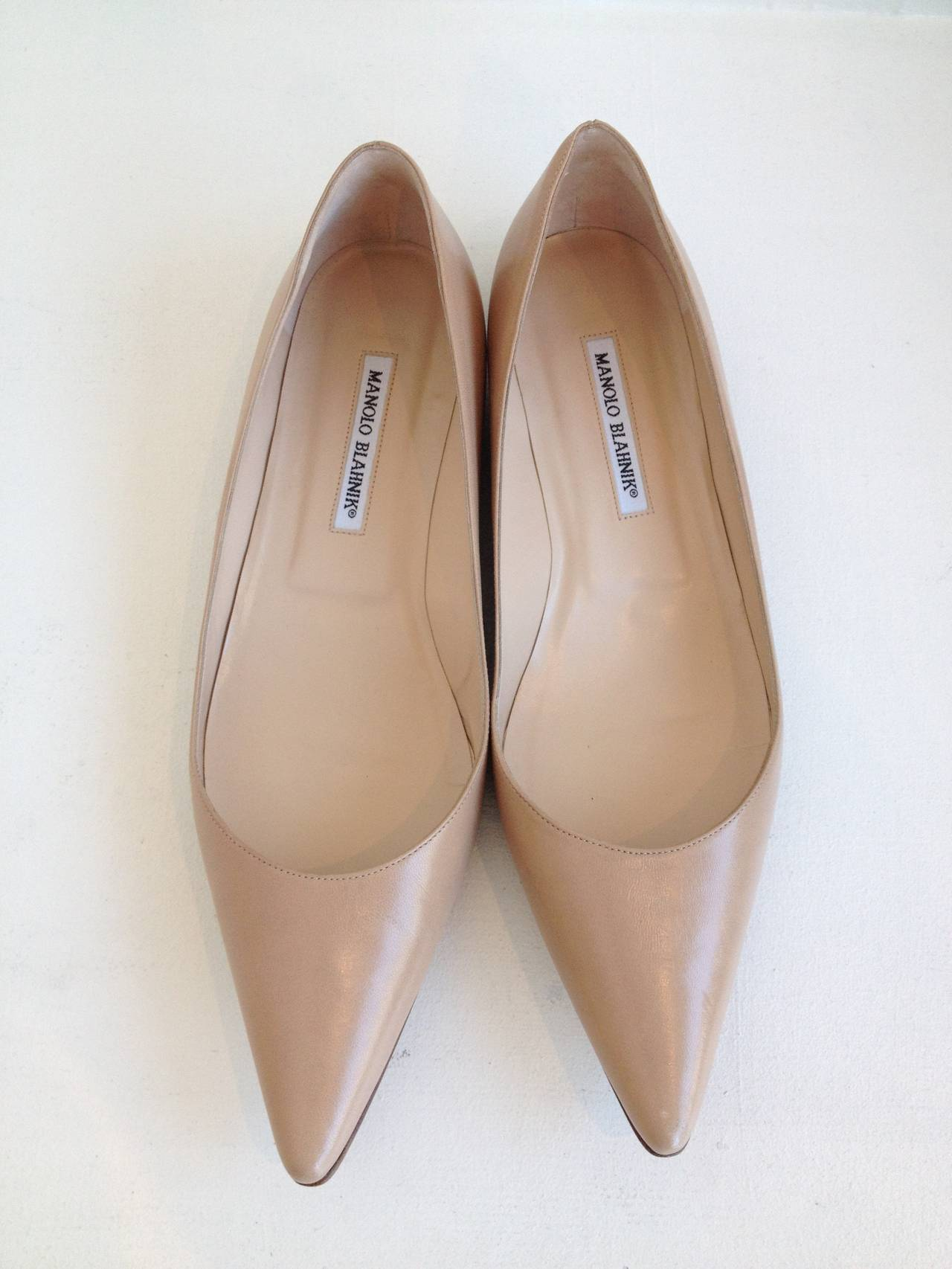 Manolo Blahnik Tan Leather Skimmers 2