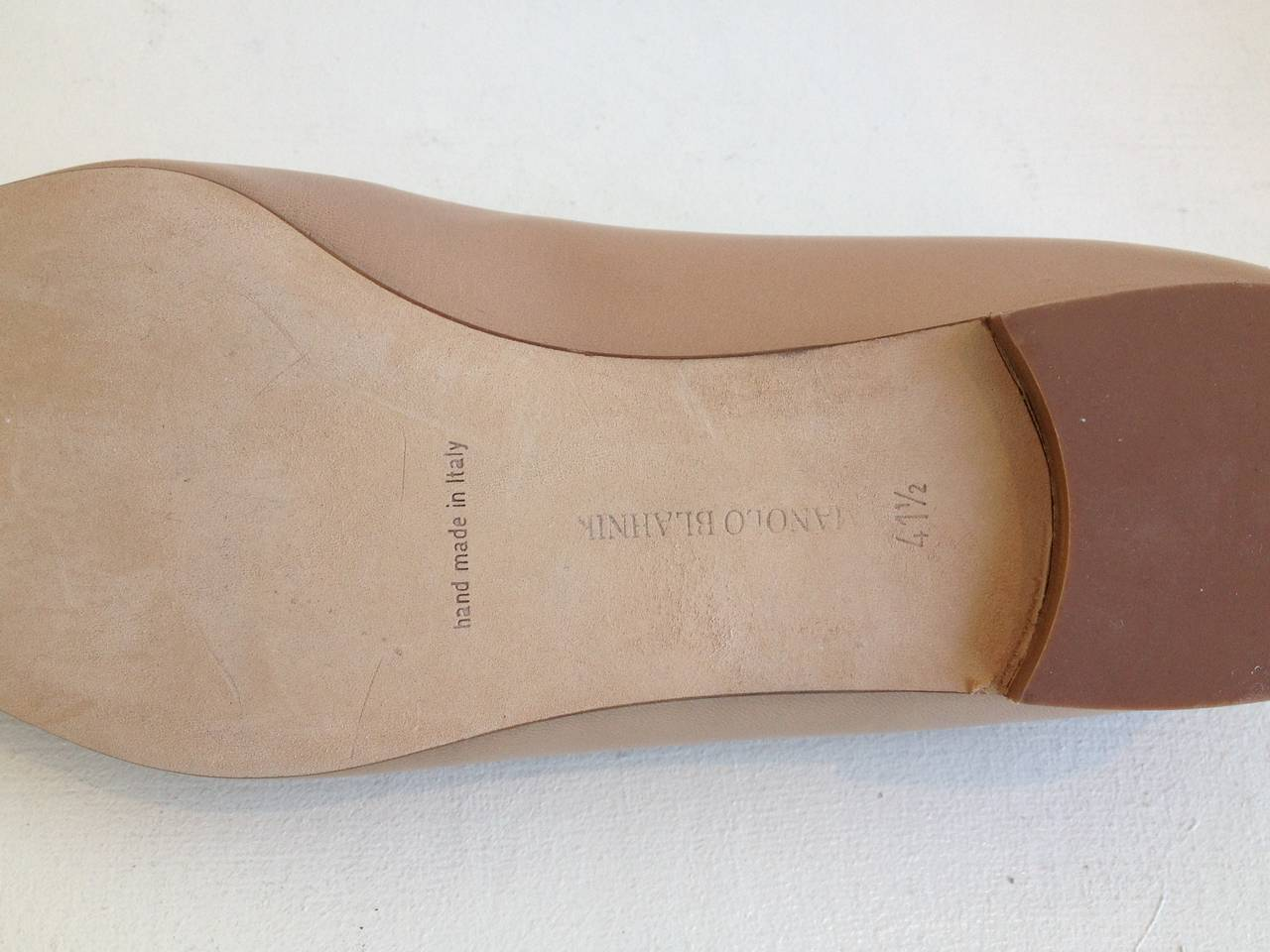 Manolo Blahnik Tan Leather Skimmers 4