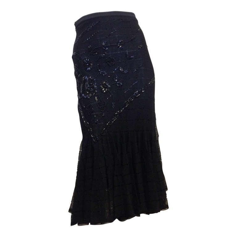 John Galliano Black Knit Mermaid Skirt 1